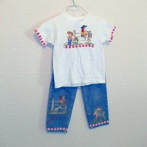 Cowgirl Western Custom TShirt Jeans 4 2Pc Set